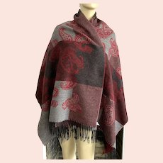 Amanda Smith Large Paisley Scarf Shawl Made In Italy