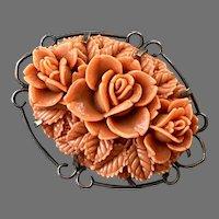 Vintage Molded Orange Celluloid Floral Pin On Brass Base