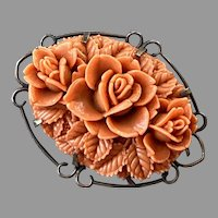 Vintage Molded Orange Celluloid Floral Pin On Brass Base