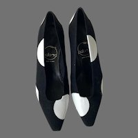 Never Worn Paloma Black Linen White Leather Shoes Made In Italy