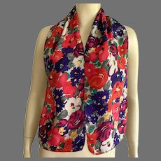 Silk Floral Pattern Oblong Scarf Made In USA