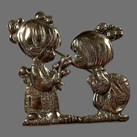 REDUCED Mexican Sterling Precious Moments Pin Two Little Girls