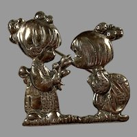 Mexican Sterling Precious Moments Pin Two Little Girls