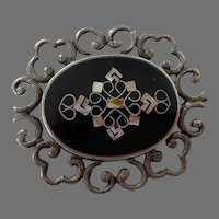 Mexican Sterling Inlaid Mother Of Pearl Pin / Pendant