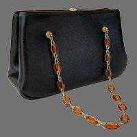 1960's Garay Black Structured Purse With Tortoise Lucite & Brass Chain Handle