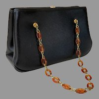 1960's Garay Black Structured Purse With Tortoise Lucite & Brass Chain Handle