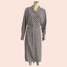 1980's Mod Brown Cream Pattern Wrap Dress By Ashley Stewart