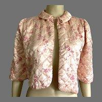 Vintage Pink Floral Satin Quilted Bed Jacket