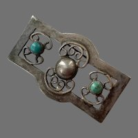 Vintage Bernice Goodspeed Mexican Sterling and Turquoise Pin