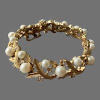 Crown Trifari Gold Tone Faux Pearl Rhinestone Bracelet 1950's 60's