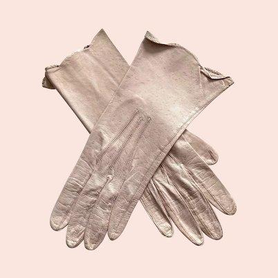 Vintage Pink Kid Leather Gloves