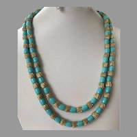 Vintage Trifari Double Strand Aqua Bead Gold Tone Necklace 1940's 50's