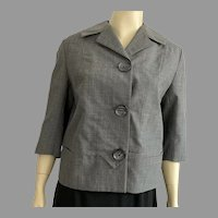1950's Gray Boxy Jacket With Great Buttons Size M