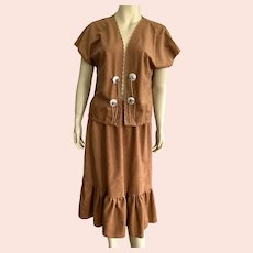 1960's Donald Howard Western Faux Suede Cowgirl Suit