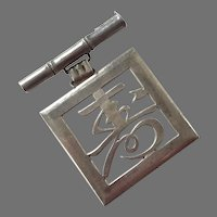 Art Deco Sterling Silver Asian Bar Pin With Pendant