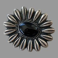 Vintage Mexican 900 Silver & Black Onyx Daisy Pin