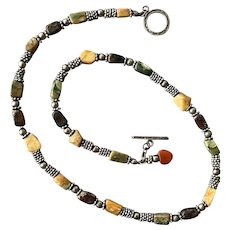Jasper Chip Silver Tone Necklace
