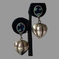 Mexican Sterling Azurite Heart Drop Earrings Pierced