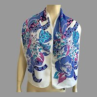 Italian 100% Polyester Flowers & Bows Oblong Scarf