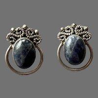 Vintage Mexican Sterling Sodalite Pierced Earrings