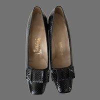 Vintage 1960's Cellini Black Genuine Snakeskin Shoes Never Worn