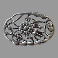 Sterling Silver Oval Shape Open Work Floral Pin