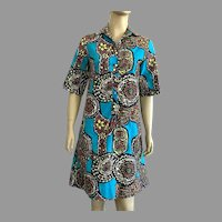 1960's Tiki Print Shirt Dress By Lady Bayard