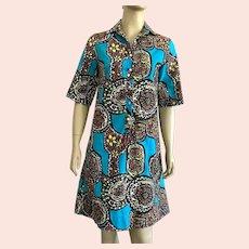 1960's Tiki Print Shirt Dress By Lady Bayard