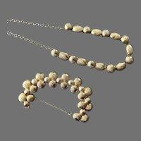 Hattie Carnegie Gold Tone Necklace Bracelet Set
