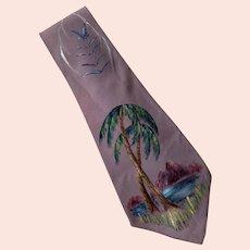 1940's Windsor Of California Hand Painted Tie Palm Tree Scene
