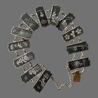 Older Japanese Damascene Bracelet With Safety Chain