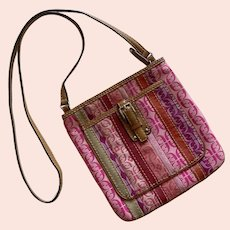 Vintage Fossil Fabric & Leather Cross Body Purse