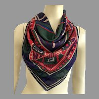 Italian Rayon Square Scarf Native American Pattern