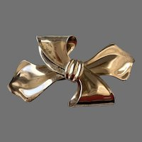 1940's Napier Sterling Vermeil Large Bow Pin