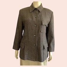 Vintage Brown Wool & Polyester Jacket By Jordan & Cole Made In USA