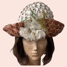 Vintage Copper & Cream Woven Straw Hat With Silk Flower Made In Switzerland