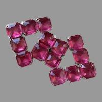 Czech Raspberry Pink Rhinestone Belt Buckle