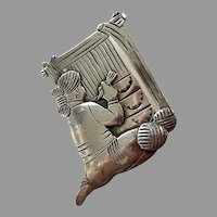 L.Perry Native American Navajo Sterling Weaver Pin