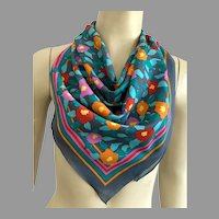 Italian Made Abstract Flowers Polyester Square Scarf