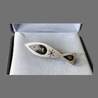 Mexican Taxco Sterling Onyx Copper Fish Pin