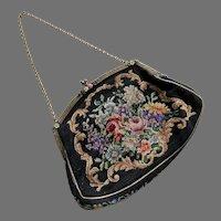 Vintage Needlepoint Petit Point Purse With Enamel Flowers On Frame