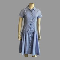 Vintage Striped Chambray Drop Waist Dress
