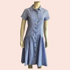 Vintage Striped Chambray Drop Waist Dress