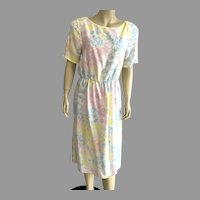 1980's Pastel Day Dress By Alison Peters Made In USA