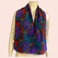 Vintage Echo Wool Scarf / Muffler Roses Pattern