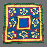 1960's Silk Bright Colored Floral Scarf Made In Japan