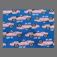 Vintage Pink Cadillac Cotton Novelty Fabric Yardage