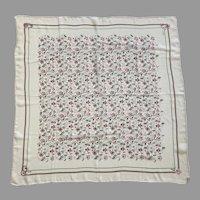 Vintage Echo Silk Crepon Square Scarf Floral Design