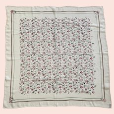 Vintage Echo Silk Crepon Square Scarf Floral Design