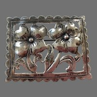 REDUCED Sterling Silver Flowers In Frame Pin